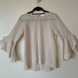 Lauren Conrad Sheer Chiffon Blouse w/ Bell Sleeves